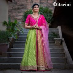 """Beautiful parrot green color brocade lehenga and rani pink color blouse with lavender net dupatta. Blouse having """"V"""" neckline. Blouse with buti design hand embroidery mirror work. Outside Wedding, Wedding Make Up, Wedding Things, Brocade Lehenga, Sari, Green Colors, Pink Color, Wedding Venues, Wedding Reception"""