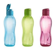 The Tupperware Eco Water Bottle comes in sizes small, medium, and large and a variety of colors: pink, blue, and green.