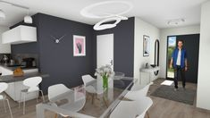 Lilas - Maisons Clairlande Bungalow House Design, Bathtub, Bathroom Lighting, Mirror, Projects, Furniture, Home Decor, Houses, Contemporary
