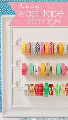 DIY Craft Room Storage Ideas and Craft Room Organization Projects - Easy Washi Tape Storage - Cool Ideas for Do It Yourself Craft Storage, Craft Room Decor and Organizing Project Ideas - fabric, paper Craft Room Storage, Paper Storage, Craft Organization, Storage Ideas, Ribbon Storage, Diy Storage, Planner Organization, Wall Storage, Craft Rooms