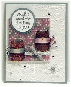 Copic card using the Lawn Fawn - Winter Owl stamp set.  Made by Michelle