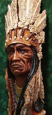 """Native American"", Cotton wood bark, $1200.00 -- by Mark Gargac"