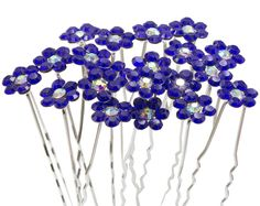 Newstarfactory Rhinestone Flower Design Collections U-sharped Metal Hair Pins Pack of 20 with Exclusive Gift (Royal blue) ** Click on the image for additional details.