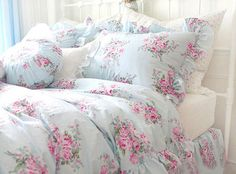 The shabby chic home pinterest shabby bedrooms and comforter king queen full twin princess shabby floral chic blue duvet comforter cover set mightylinksfo