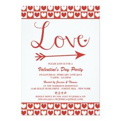Valentine's Day Party Invitations Red & White Love Hearts Valentine's Day Party Card