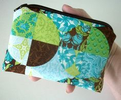NEW Little Zipper pouch ECO Friendly Padded Coin Purse Piccadilly Blue by JPATPURSES, $8.00