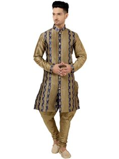 Phenomenal golden beige, navy blue color art silk, brocade kurta with pleated work. Item code: SKEW527  http://www.bharatplaza.com/new-arrivals/kurta-pyjamas.html
