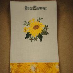 Sunflower embroidered Linen Kitchen Tea Towel