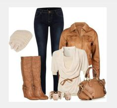 blouse top shirt draped neck draped top half sleeve jacket coat leather jacket bag purse shoes heels high heels boots tall boots wedge boots cream top taupe top hat knit hat pants jeans gathered top clothes outfit