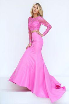 Long Sleeve Sherri Hill 50491 Pink Lace Two Piece Prom Dress Prom Dresses 2016, Sherri Hill Prom Dresses, Prom Dresses For Sale, Pink Prom Dresses, Mermaid Prom Dresses, Trendy Dresses, Bridesmaid Dresses, Pink Dress, Dress Lace