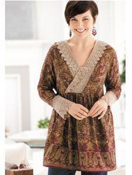 Crocheted Lace-trim Tunic - Ulla Popken