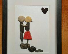 Pebble art,  Unique engagement pebble art gift,  anniversary gift,  loving couple pebble art,  personalized loving couple pebble art