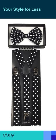 Gentlemen Boy Adjustable Clip-on Braces Suspender and Dickie Bow Tie Sets Hot