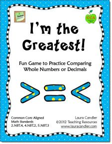 I'm the Greatest - Math Game for Comparing Whole Numbers or Decimals - CCSS Aligned with Math Standards 2.NBT.4, 4.NBT.2, 5.NBT.3  I'm the Greatest is an engaging activity for comparing numbers and reading word names aloud. Can be used in a whole group setting, cooperative learning groups, or centers. $