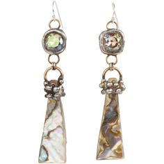 Mikal Winn Shell Swarovski Cystal Drop Earrings