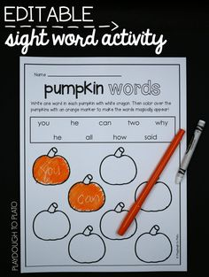 Such a fun fall or Halloween sight word activity for kindergarten or first grade. Such a fun fall or Halloween sight word activity for kindergarten or first grade. Sight Word Centers, Sight Word Practice, Sight Word Activities, First Grade Activities, Reading Activities, Science Activities, Guided Reading, Teaching Reading, Kindergarten Centers