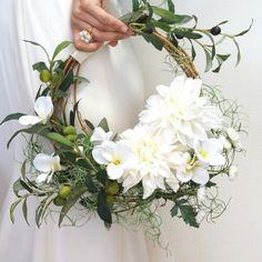 wreath bouquet by Sakie オリーブとプルメリアのリースブーケ