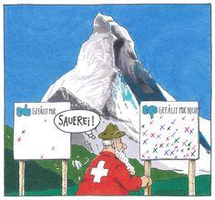"""Verstimmung am Matterhorn"" by Andreas Prüstel #cartoon #funny"