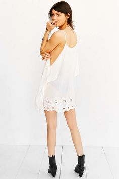 Staring At Stars Scarf Embroidered Mini Slip Dress - Urban Outfitters