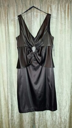 Warm satin brown cocktail dress with gold broach accent 2