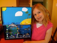 How to Make a Diorama. Building a diorama is a fun DIY project in which you can create an exciting scene in a small space. Dioramas allow a lot of room for creativity and innovation. Though dioramas usually display a historical time. Ocean Projects, Science Projects, School Projects, Cool Diy Projects, Projects For Kids, Craft Projects, Dolphin Habitat, Ocean Diorama, Animal Habitats