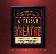Decorate your home theater with this collection of beautiful, retro movie marquee sign artwork. These posters, coasters, clocks, pillows & more are personalized with your family name and more text! See the collection here -> https://www.zazzle.com/collections/family_movie_theatre_personalized_collection-119847329559987835?rf=238713858877306074&TC=pin