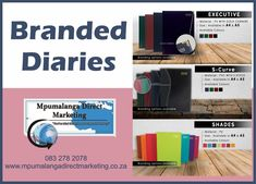 We have widespread diaries with different colours and textures.  Get a quote by emailing sammyschmidt165@gmail.com or visiting our website for more information   #mpumalangadirectmarketing #diaries #branded