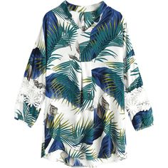 Palm Leaf Print Lace Panel Blouse (€25) ❤ liked on Polyvore featuring tops, blouses, palm print blouse, blue top, lace inset top, palm leaf top and lace insert top