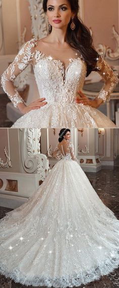 Marvelous Lace & Tulle Scoop Neckline Ball Gown Wedding Dress With Lace Appliques & Beadings #laceweddingdresses #weddingdresses #weddinggowns