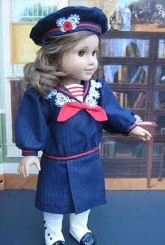 18 inch Doll Clothes American Girl Navy and Red Sailor Collar Dress. $22.00, via Etsy.