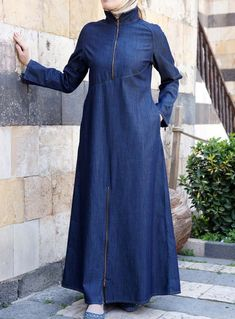 Denim Figueroa Jilbab from SHUKR, great nursing abaya with a sporty flare. I can totally see myself chasing after the girls in this! Islamic Fashion, Muslim Fashion, Modest Fashion, Abaya Fashion, Denim Fashion, Fashion Outfits, Fashion Ideas, Hijab Style, Hijab Chic