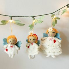 set of three wool angels by little ella james | notonthehighstreet.com