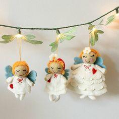 set of three wool angels by little ella james | notonthehighstreet.com