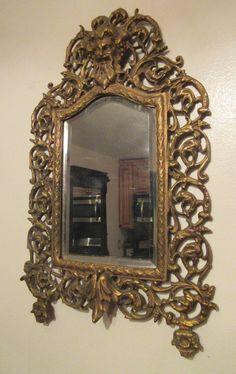antique 1800's ornate gilt bronze greek figural beveled wall mirror brass old #Victorian