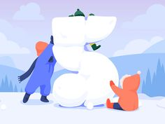 Snow Sculpture designed by Jessica Noble for NJI Media. the global community for designers and creative professionals. Snow Sculptures, Jessie, Nick Jr, Illustration, Holiday, Winter, Happy, Design, Style