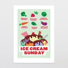 I Love Sundays - Art Print by Glenn Jones Art - art to make you smile. Available in a range of sizes. Click image to buy online. www.glennjonesart.com
