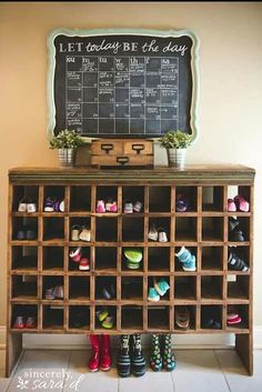 Love the shoe cubby!Mudroom salvage: A chalkboard calendar and mail sorter-turned-shoe cubby Chalkboard Calendar, Diy Chalkboard, Shoe Storage Solutions, Storage Ideas, Dvd Storage, Yarn Storage, Hanging Storage, Storage Design, Storage Hacks