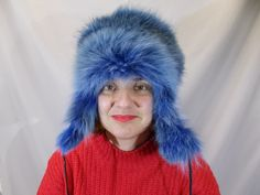 c370ae1975e men fur hat women fur hat Fur Trapper Hat blue fur hat ushanka hat real fur  hat fur accessories handmade hat russian hat fur gift blue fox