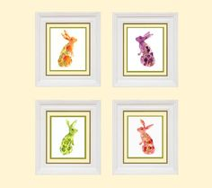 Fruit Bunny Collection kitchen wall art Spring by eastwitching, $54.00