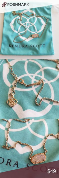 Kendra Scott Elisa Drusy Gold Necklace Gently used and worn Kendra Scott gold necklace with iridescent drusy stone. The stone could use a cleaning but it still looks great! Comes with Kendra cleaning cloth. Kendra Scott Jewelry Necklaces