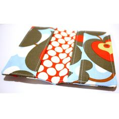 Smart Phone Wallet Or Cell Case in Blue Gray and Red by kailochic