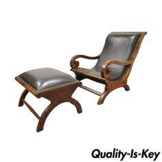 British Colonial Augusto Teak Wood & Leather Plantation Lounge Chair & Ottoman #BritishColonialAugusto