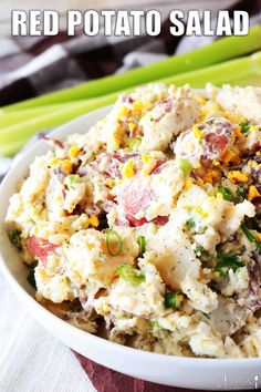 Red Potato Saladis side dish perfect for feeding a crowd! Red Potatoes are mixed with hard-boiled eggs, celery, and green onions, coated in a simple dressing of sour cream, mayonnaise, and dijon mustard, and finished off with a sprinkle of tangy dill. It's best served at BBQ's, potluck parties, and holiday gatherings! Hard Boiled, Boiled Eggs, Barbecue Side Dishes, Feeding A Crowd, Salad Sandwich, Potluck Recipes, Green Onions, Mayonnaise, Sour Cream