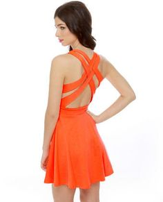 Darling neon orange dress.