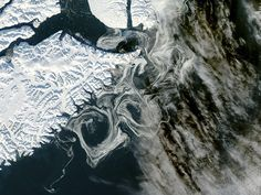 Sea Ice Off Eastern Greenland  The MODIS instrument on NASA's Aqua satellite captured this visible image of Sea Ice off eastern Greenland on October 16, 2012.