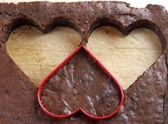 Cutting heart brownies