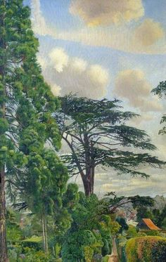 'Cookham from Englefield' by British artist Stanley Spencer. Stolen from the Stanley Spencer Gallery in Cookham High Street. Landscape Art, Landscape Paintings, Contemporary Landscape, Landscapes, Stanley Spencer, English Artists, British Artists, News Website, Watercolor Trees