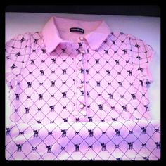 ❌SOLD❌Shirt Shirt in pink with kitten prints and pearl buttons. Extra button attached on the inside label.  Purchased in Japan. Wore only twice. Almost like new. SUGAR & BABE Tops