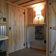 Corrugated Tin Shower Wall and LOVE the door Tin Shower Walls, Tin Walls, Wood Walls, Metal Walls, Barn Wood Bathroom, Craftsman Bathroom, Bathroom Ideas, Basement Bathroom, Bath Ideas