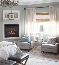 Love the window dressings and chairs! Not sure my bedroom is large enough for a sitting area though.